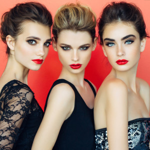 Three beautiful girls with make-up