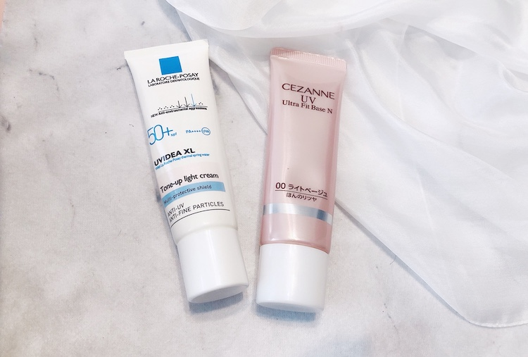 乳液と色付き&UV効果のある下地を混ぜて両手に伸ばし、そのまま包み込む