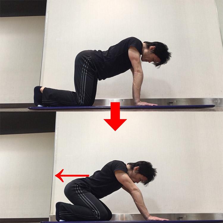 骨盤を前傾させたままで股関節屈曲動作を高める動的ストレッチ